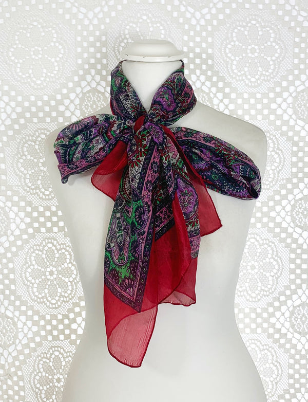 Pure Silk Indian Scarf - Deep Red