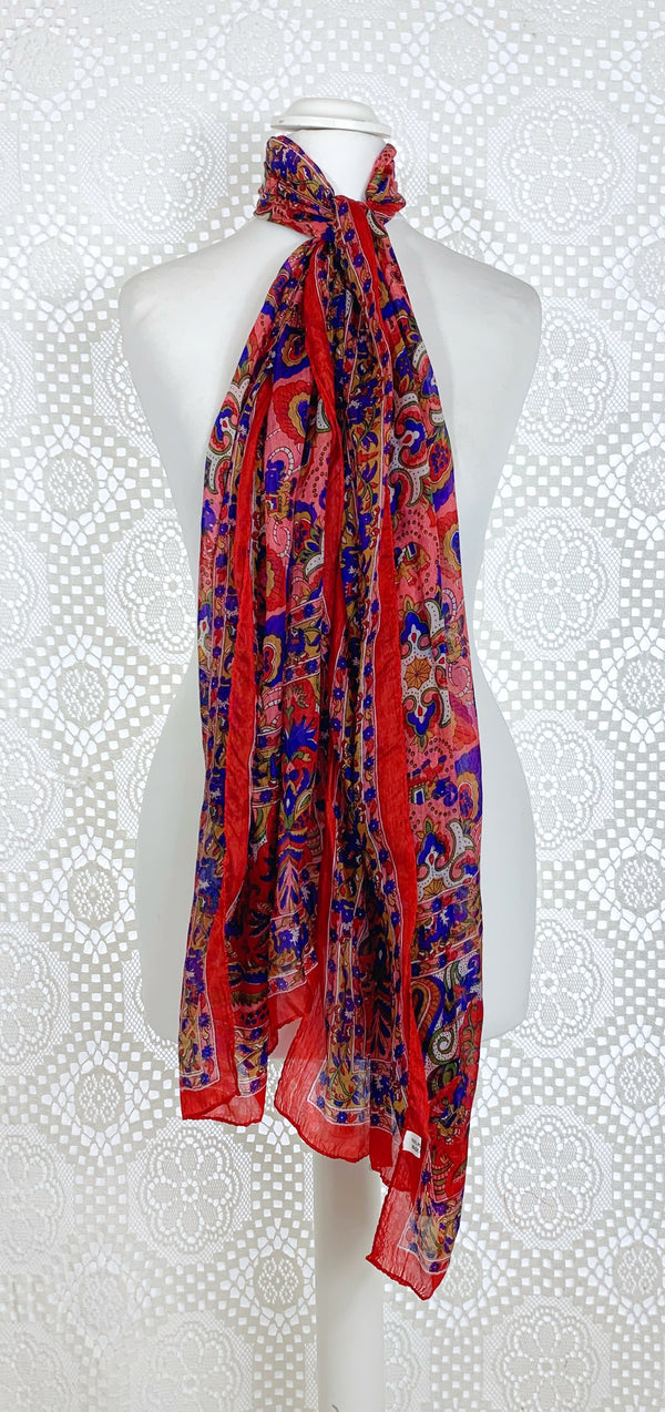 Pure Silk Indian Scarf - Red & Pink