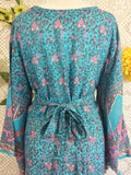 SALE ✨ Blue & Pink Peacock Paisley Cotton - Maxi Button Down Dress/Kimono - M/L