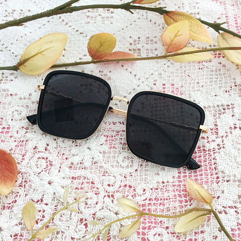Classic Black & Gold Square Sunglasses