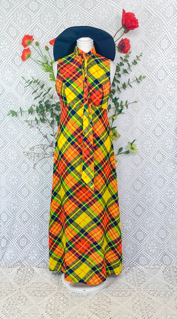 Vintage Neon Tartan 70s Dress - Size - XS