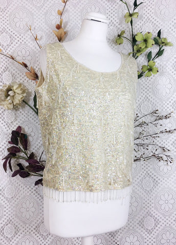 Vintage 50's Sequin / Beaded Cream Party Top Size M