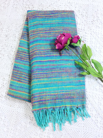 Aqua Blue, Purple & Yellow Reversible Stripe Indian Shawl/Blanket
