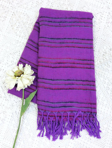 Violet, Wine & Grey Striped Indian Shawl/Blanket