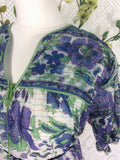 Vintage Indian Sparkly Floral Smock Dress - Spring Green & Purple - Size M