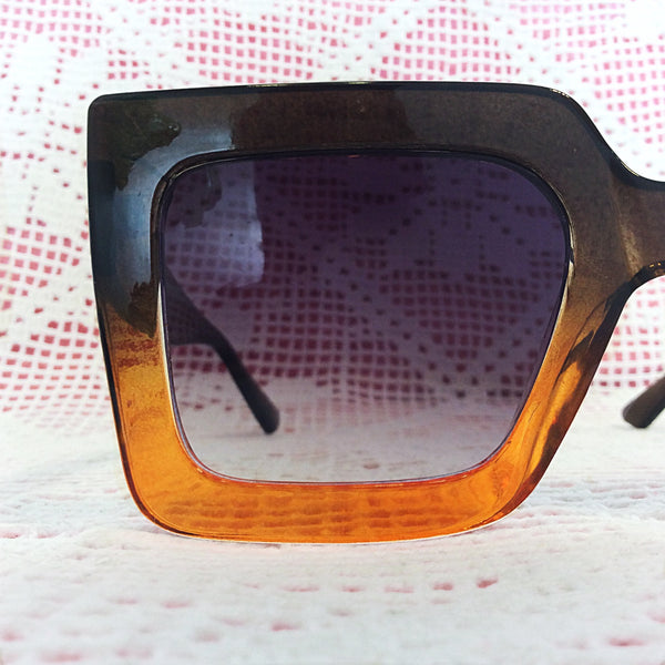 Chunky Retro Brown Two Tone Sunglasses