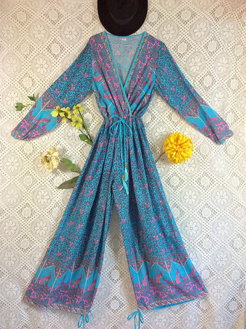 SALE - Indian Peacock Drawstring Wide Leg Jumpsuit - Aqua Grey Lilac - M