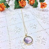 Boho dried flower pendant necklace - Pink / Mauve