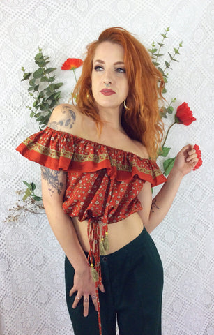Bella Bardot Top (free size) Copper Orange/Red Floral