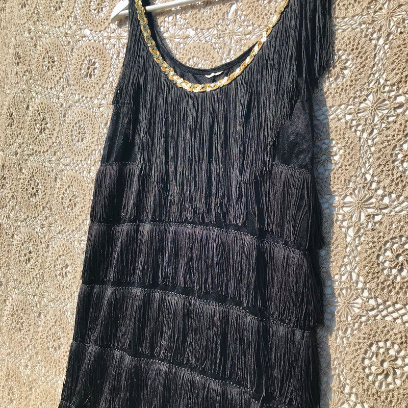 Vintage 1970s tassel fringe dress - black, gold - S/M