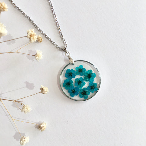Round Dried Flower Necklace - Small Teal