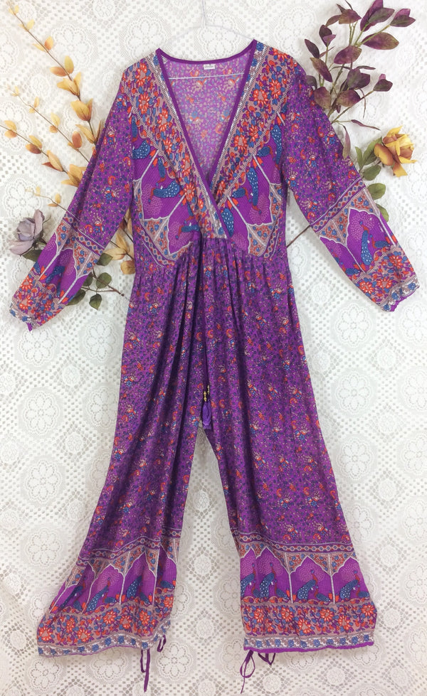 SALE - Indian Peacock Drawstring Wide Leg Jumpsuit - Purple - Size L