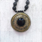 Ornate Medallion with Obsidian Black Beads
