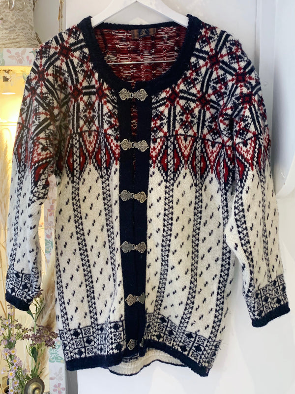 Vintage Black Norwegian Knitted Cardigan - Size M -L