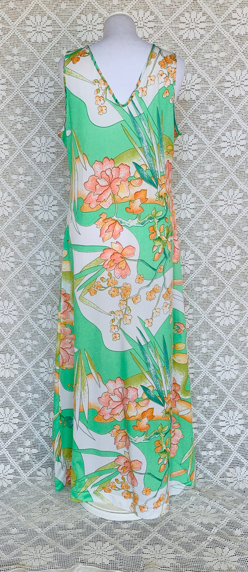 Vintage Bohemian 70s Apple Green & Peach Maxi Dress - Size - M - L