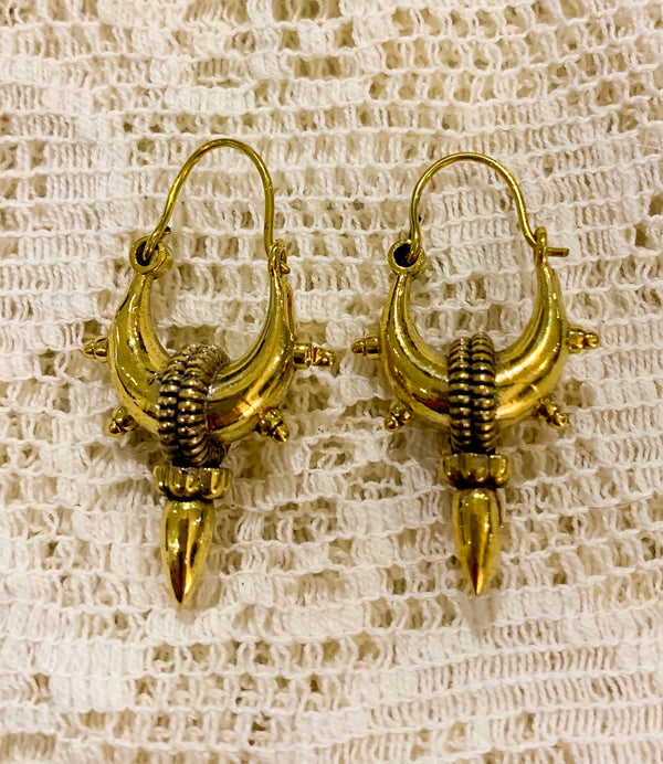 Small Gold Painted Brass Hoop Earrings With Spike
