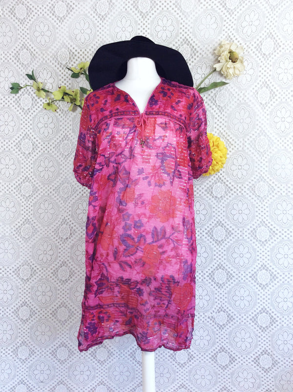 Vintage Sparkly Pink/Purple/Red Floral Smock Dress Size S