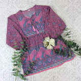 Pink Indian Peacock Paisley Smock Top - Cotton - Size S/M