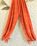 SALE - Indian Peacock Drawstring Wide Leg Jumpsuit - Orange - Size M