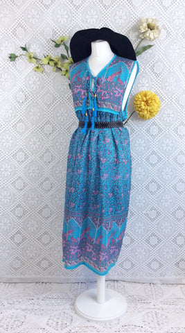 SALE - Blue/Pink Peacock Sleeveless Midi Smock Dress - Size S/M