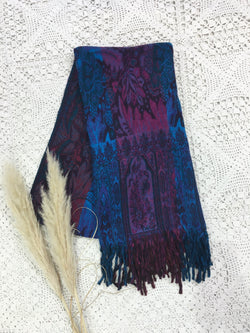 Purple & Teal Floral Mirage Reversible Indian Shawl/Blanket