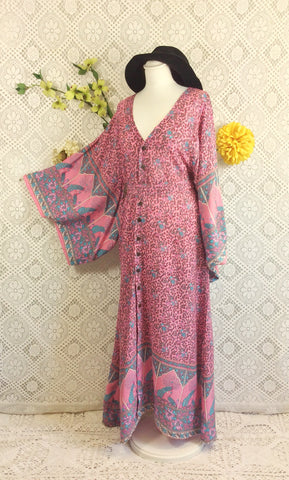 Pink/Blue/Grey Peacock Paisley Cotton - Maxi Button Down Dress/Kimono - S/M
