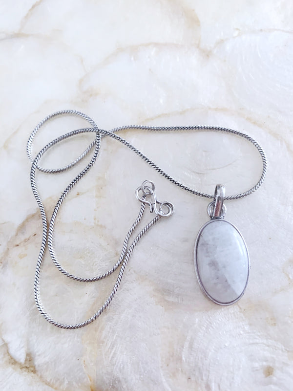 Small Silver Coloured Moonstone Necklace Pendant