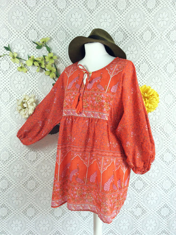 Orange / Pink Indian Peacock Paisley Smock Top - Cotton - Size M/L