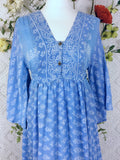 Lunar Maxi Dress - Vintage Indian Cotton - Frosty Blue Block Print