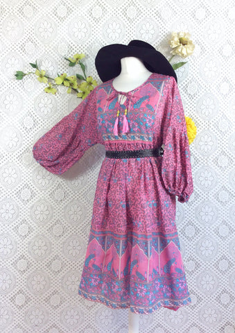 Pink/Blue/Grey Peacock Paisley Floral - Short Smock Dress - Size M/L
