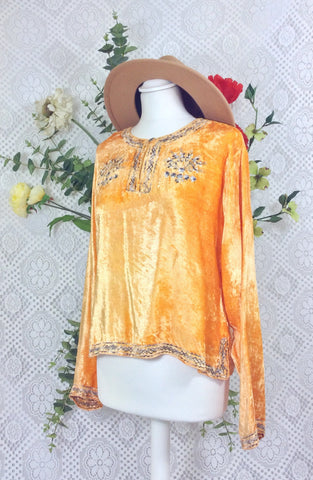 Vintage Velvet Embroidered Long Sleeve Top - Clementine & Slate - Size S/M