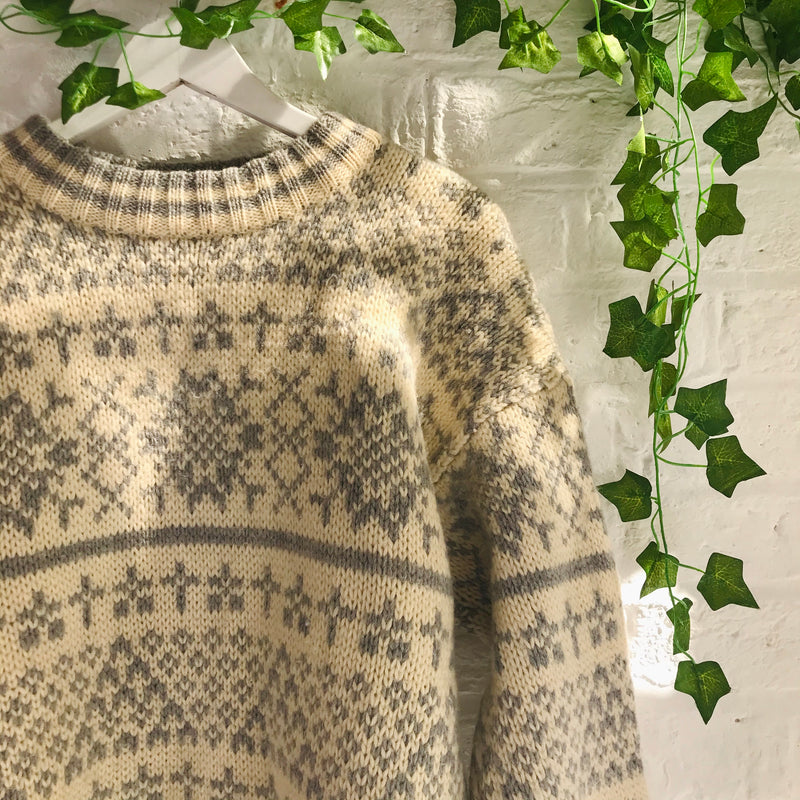 Vintage Knitted Jumper - Cream and Grey - S
