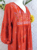 Coral Red/Orange Peacock Paisley Floral - Short Smock Dress - Size S/M