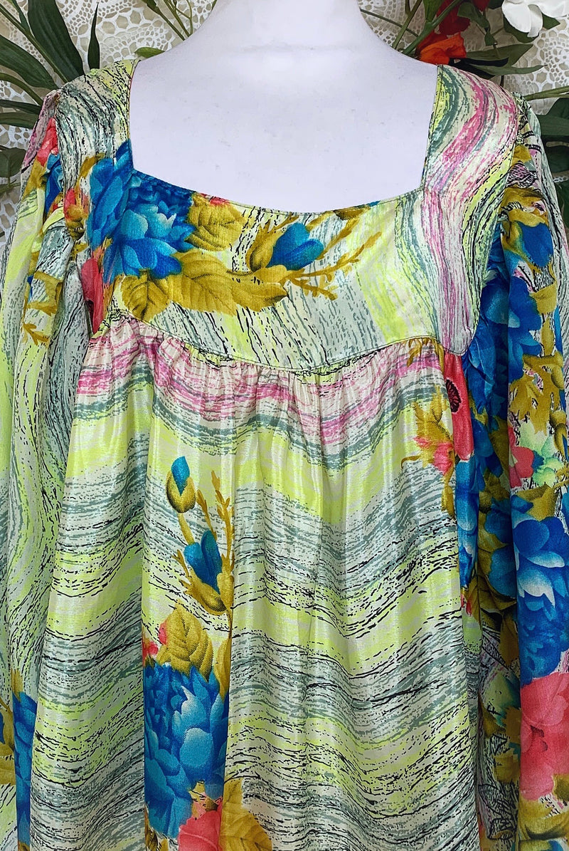 Honey Top - Vintage Indian Sari - Candy Red, Blue & Lemon Abstract Floral (free size)