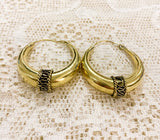 Large Gold Painted Brass Hoop Earrings