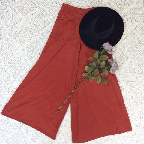 Block Colour Wide Flares with Pockets - Autumn Red Silk Mix - S/M