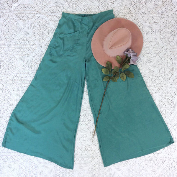 Block Colour Wide Flares with Pockets - Mint Green Silk Mix - S/M