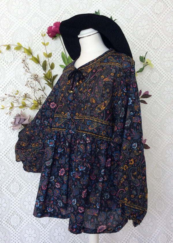 Florence Gypsy Smock Top - Midnight & Merigold Paisley Floral Copper Sparkly Thread (XS)