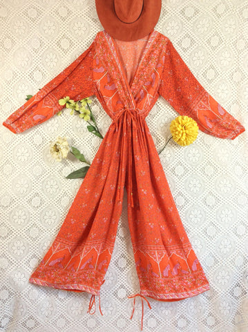 Indian Peacock Drawstring Wide Leg Jumpsuit - Orange - Size L