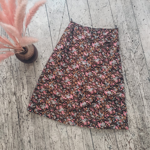 Brown & Pink Ditsy Floral Prairie Midi Skirt - Size S