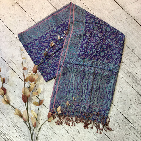 Indian Pashmina Shawl - Violet & Sea Blue Paisley