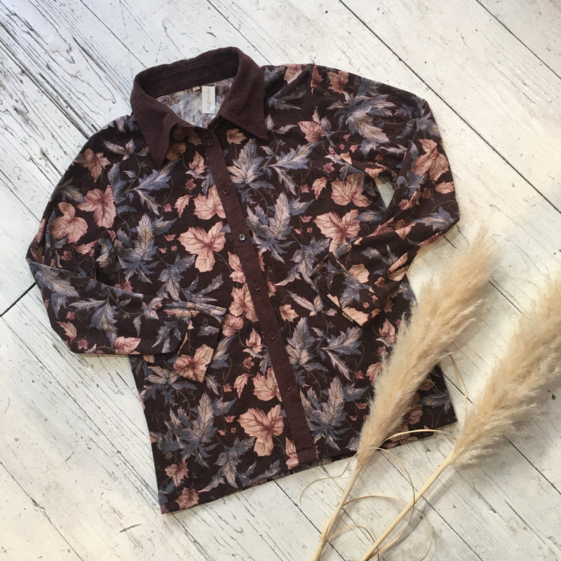 Retro Burgundy Leaf Print Shirt - S/M