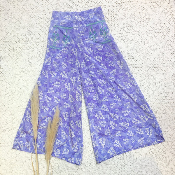 High Waisted Flares with Pockets - Vintage Indian Sari - Lavender Leaf Print - M/L
