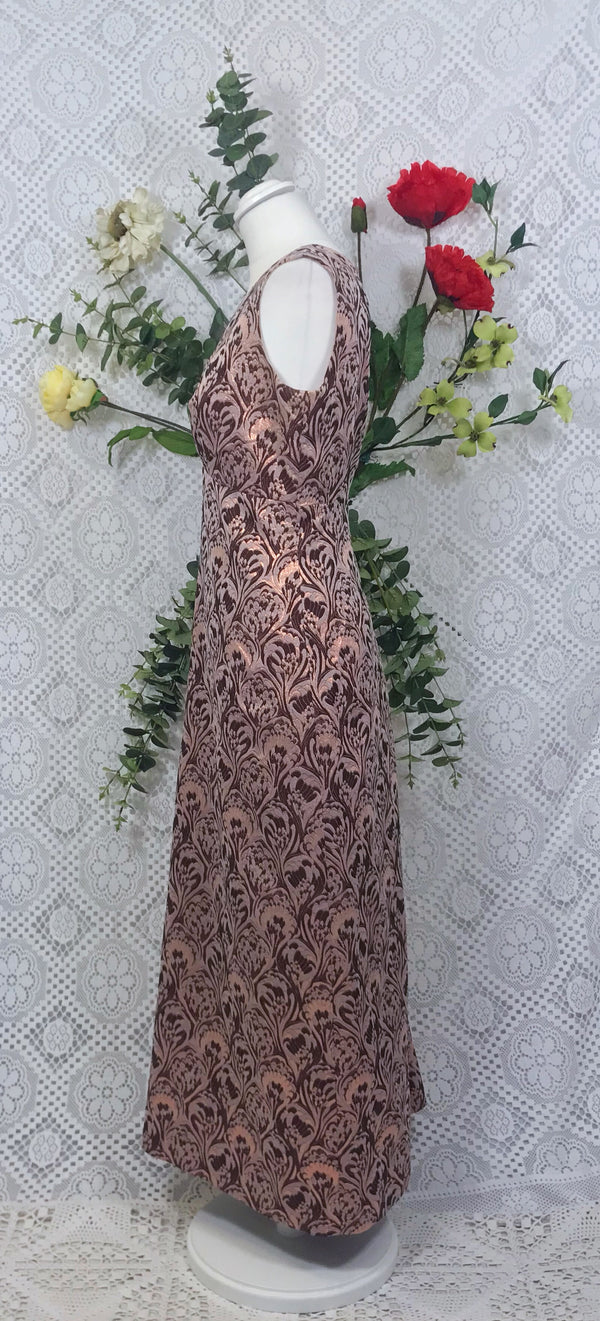 Vintage gold / bronze maxi dress size 12/14