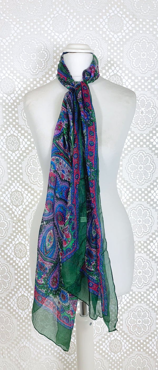 Pure Silk Indian Scarf - Dark Green
