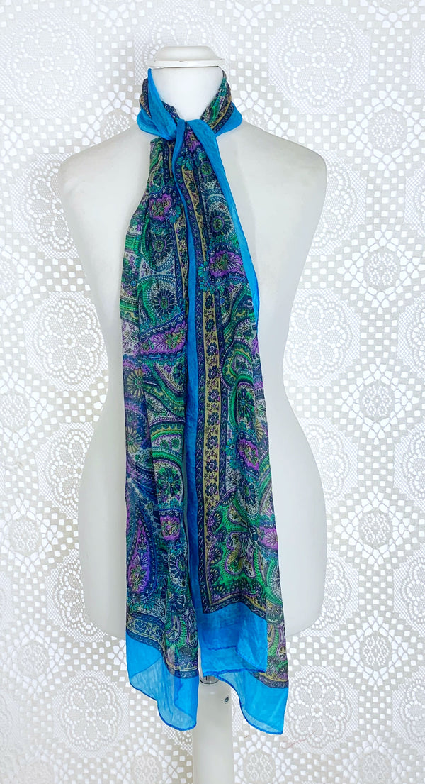 Pure Silk Indian Scarf - Turquoise