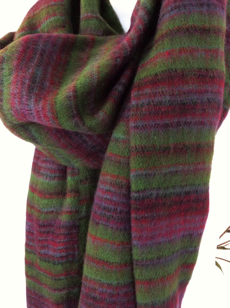 Moss Green & Wine Reversible Stripe Indian Shawl/Blanket