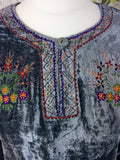 Vintage Velvet Embroidered Long Sleeve Top - Lead Metallic - Size S