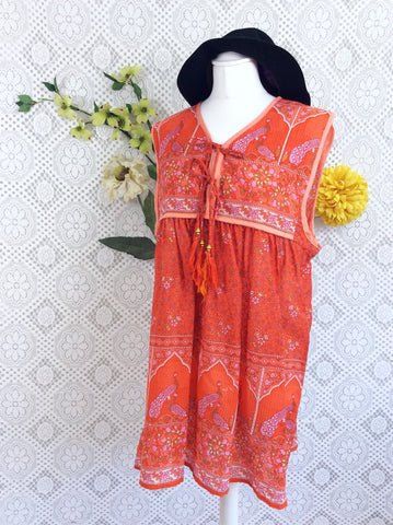 SALE - Orange Peacock Sleeveless Cotton Top / Mini Smock Dress - Size M/L