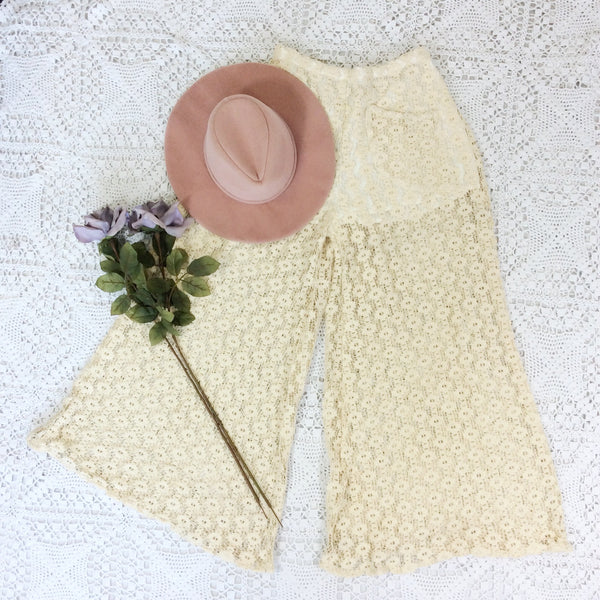 Block Colour Wide Flares with Pockets - Cream Porcelain Vintage Lace - M/L